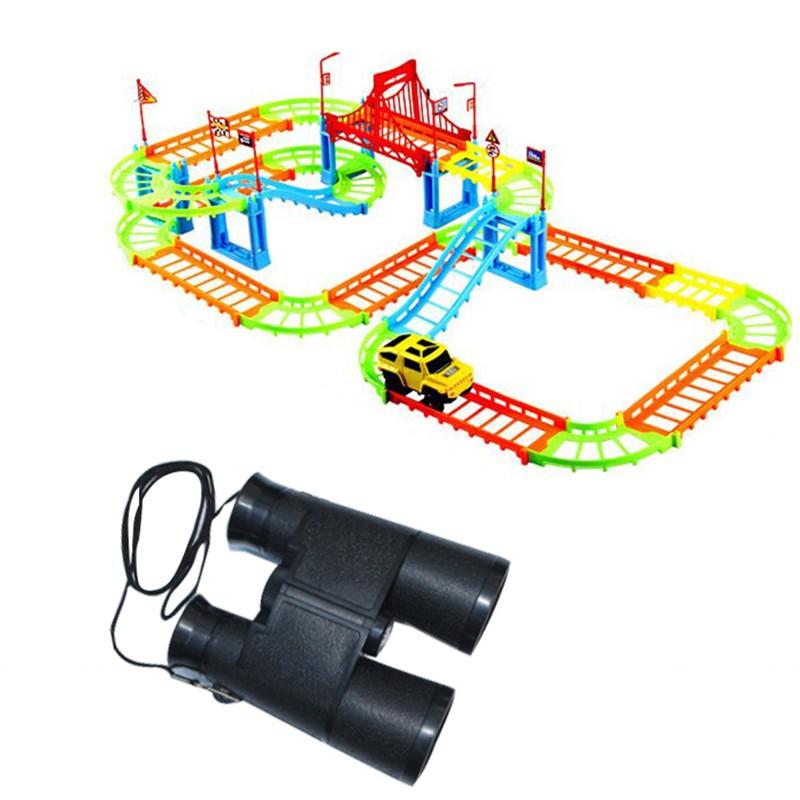 combo 1 bộ đường đua ô tô 90 chi tiết + ống nhòm cho bé