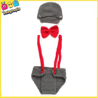 Baby Photography Props Crochet Wool Outfit Bowtie Hat Set for Boys Girls