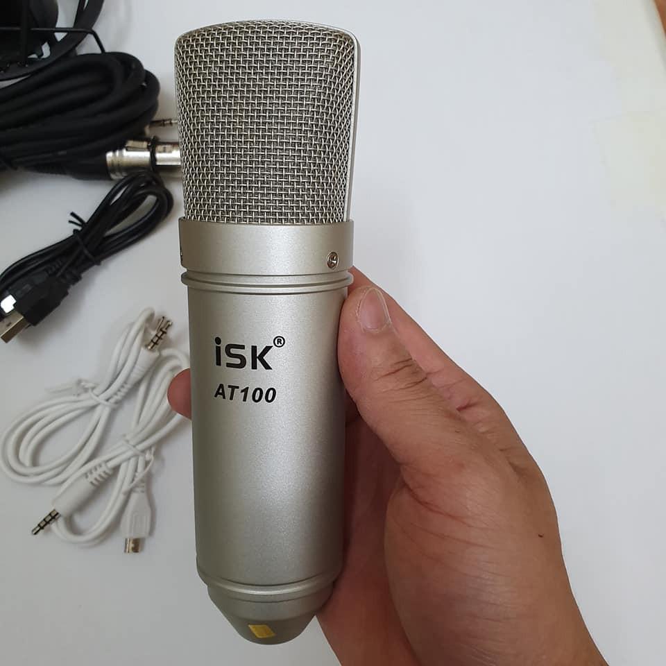 combo bộ míc thu âm livestream hát karaoke online micro ISK AT100 card V8  BLUETHOOTH có auto tune TẶNG TAI NGHE 450