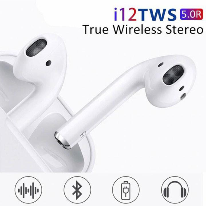 Tai nghe I12 Bluetoorh 5.0 TWS - Cảm Biến Vân Tay, Chất Âm Êm, Trong Trẻm Thời Lương Pin Tốt, Sang Trọng
