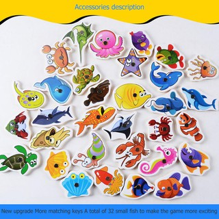 32pcs Magnetic Fishing Educational Fishing Game Wooden Kids Baby Play Toys Gifts