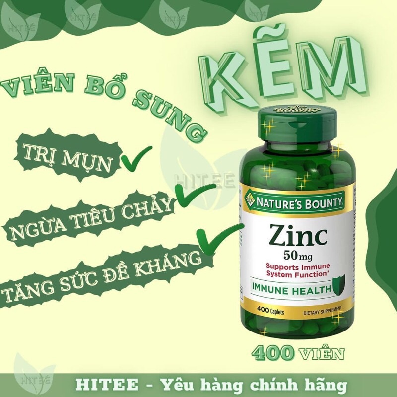 Viên uống Kẽm zinc Nature's Bounty 50mg