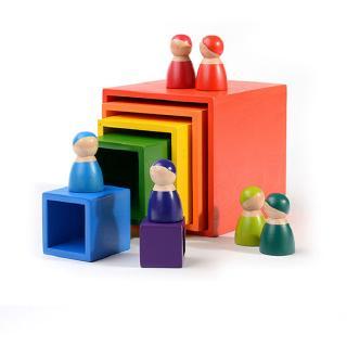 6Pcs Rainbow Stacker Wooden Storage Box for Kids Building Blocks Toy