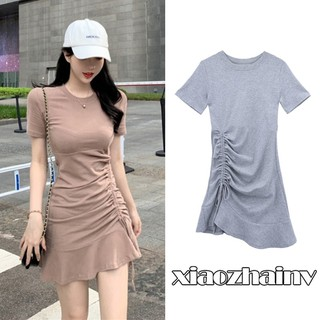Xiaozhainv Đầm tay ngắn phối dây rút màu trơn phong cách Hàn Quốc