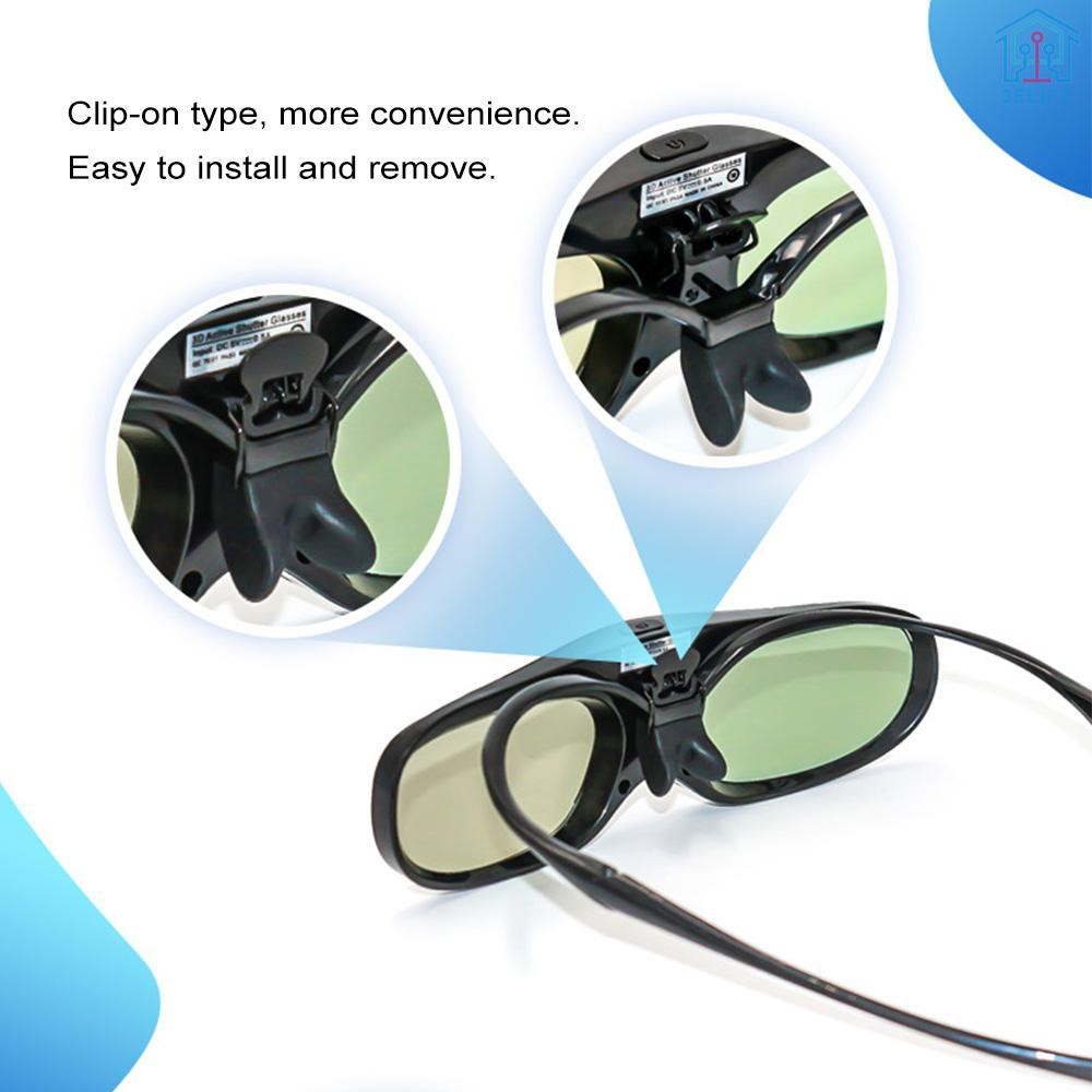 【E&V】G300 Active Shutter 3D Glasses Clip-on Type Compatible with DLP-Link Projector with Detachable Temple Projector with 3D Function Rechargeable 3D