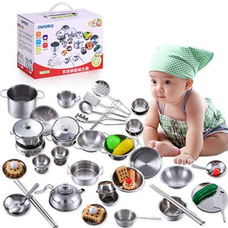 (shopHuyenBi)Bộ đồ chơi nấu ăn bằng inox 40 chi tiết cho bé