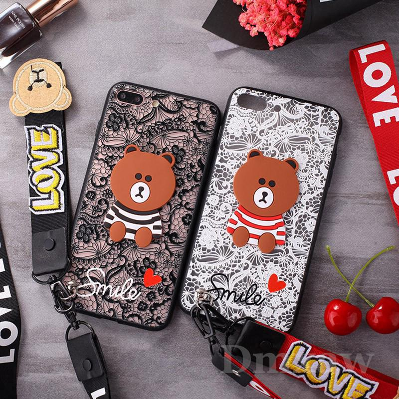 Pear OPPO A3S A83 F5 F7 A79 A77 A73 A71 Case Lace Bear Cover