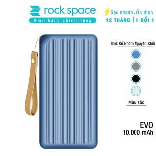 Pin dự phòng nhôm nguyên khối hỗ trợ sạc nhanh Rockspace Evo 10.000 mAh -Chính hãng