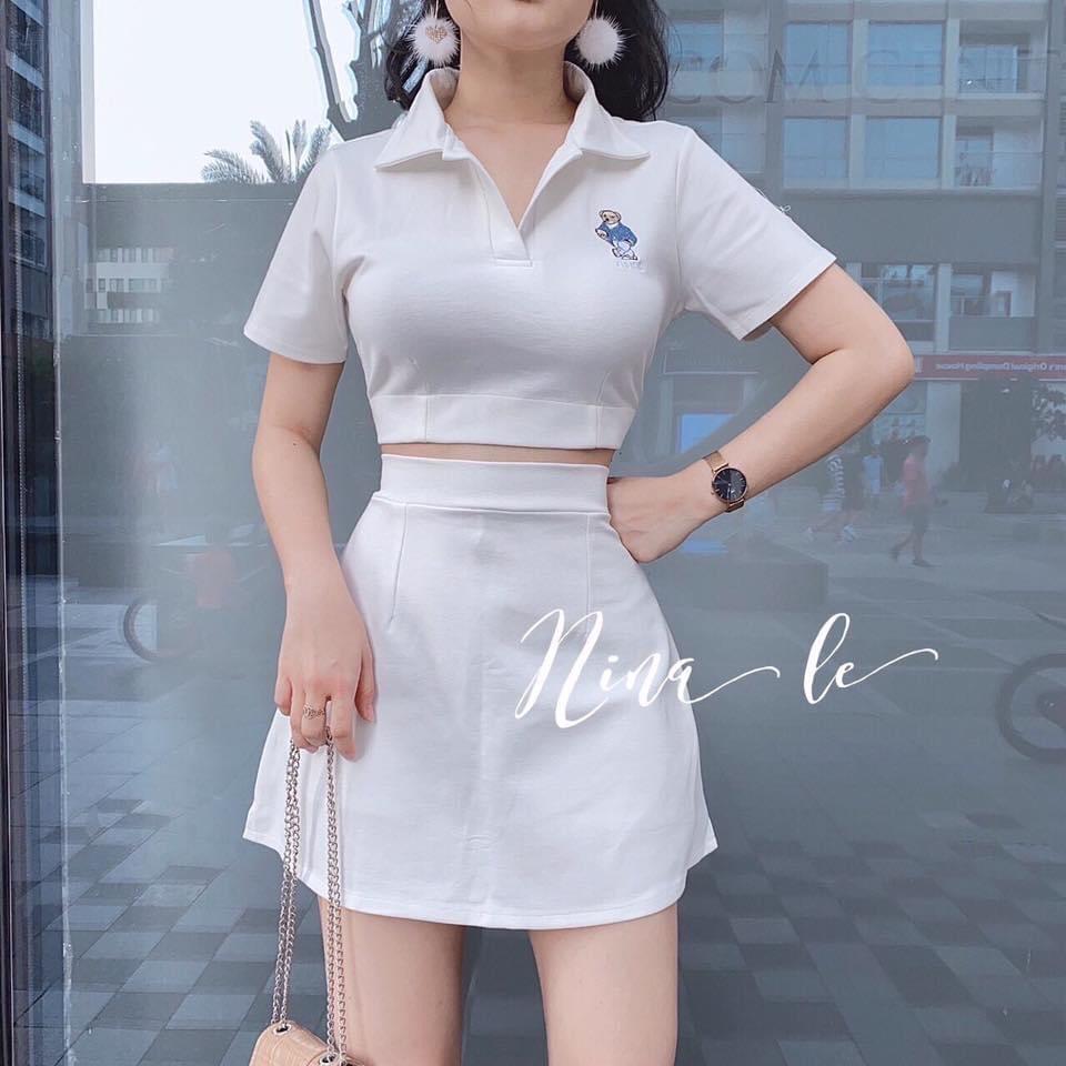 [Mã WASEPRN hoàn 20% xu đơn 99k] Sét bộ đồ nữ áo croptop in hình gấu kèm chân váy