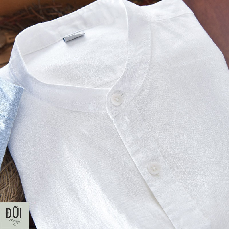 Áo sơ mi nam cổ tàu vải Thái bền đẹp màu trắng