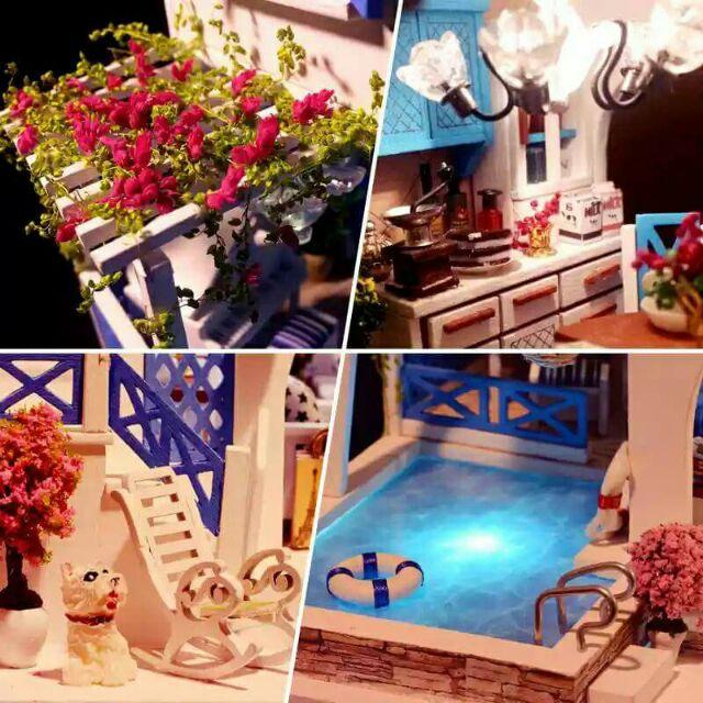 Kèm mica - Mô hình nhà gỗ búp bê dollhouse DIY - K015 Blue and white Town