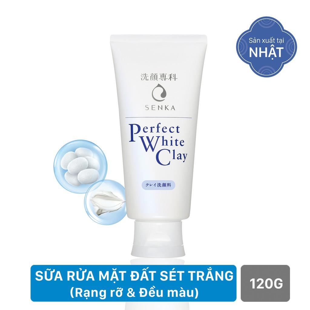 Sữa rửa mặt tạo bọt chiết xuất đất sét trắng Senka Perfect White Clay 120g_14840