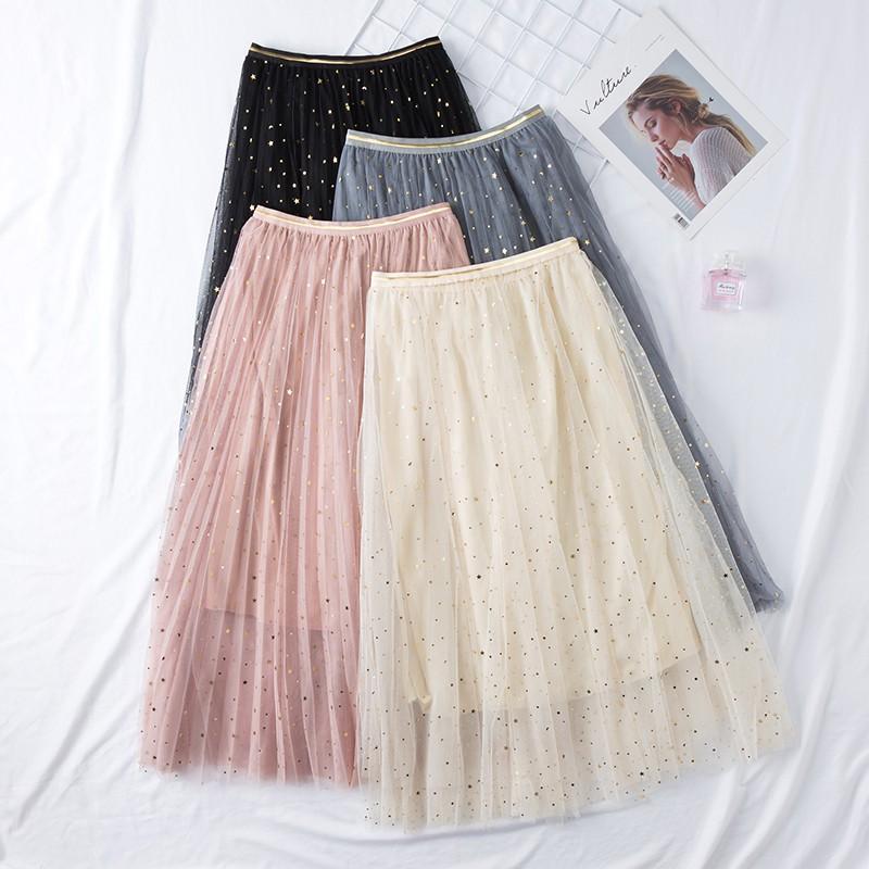 Chân váy xếp ly lưới nhũ lấp lánh hàn quốc (Order)- kèm ảnh thật