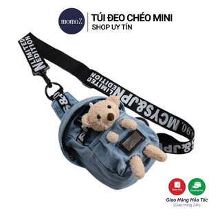 Túi đeo chéo mini nữ - tui đeo chéo có gắn gấu bông HOT 2021