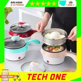 [Chính hãng] Nồi lẩu điện mini đa năng kèm giá hấp, nồi lẩu mini 2 tầng chống dính, ca nấu mì nấu lẩu – techone