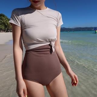 Bộ đồ bơi , bikini nữ liền mảnh liền áo ngoài tay lỡ thumbnail