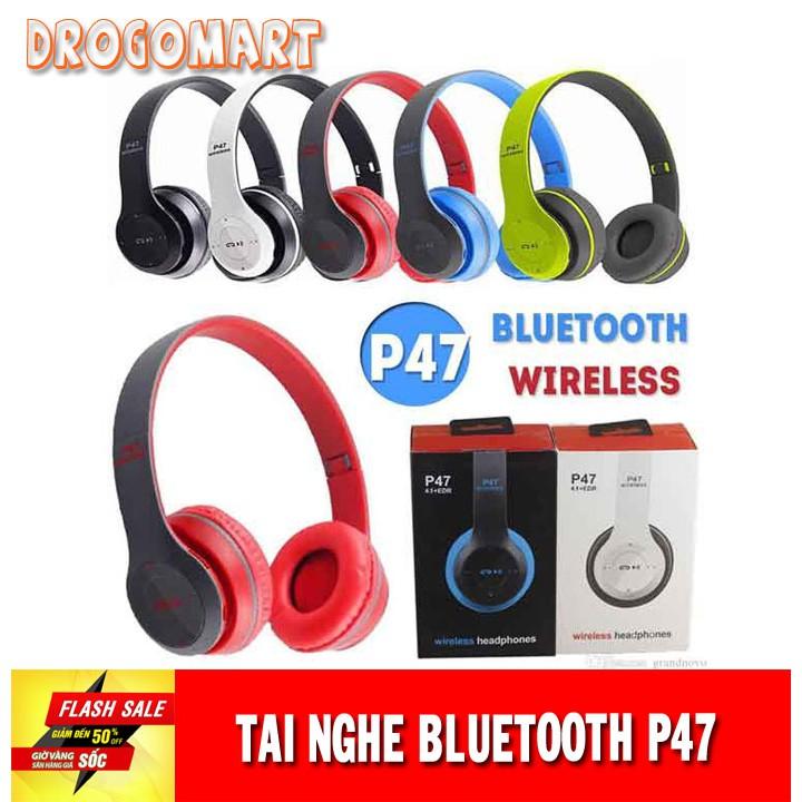 ( FREESHIP 99K ) Tai nghe chụp tai cao cấp có khe thẻ nhớ Bluetooth P47 Âm thanh đỉnh cao Bảo Hành 6 tháng