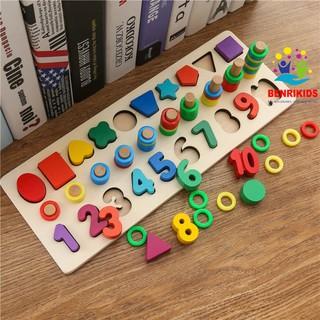 Giáo Cụ Montessori Cột Tính Bậc Thang Kèm Hình Khối Và Số Đ