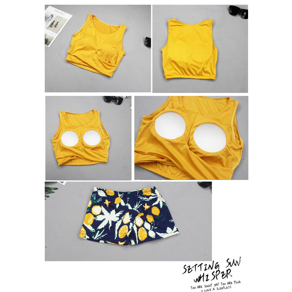 Bộ đồ bơi bikini hai mảnh 3 chi tiết đi tắm biển nữ - Dễ thương