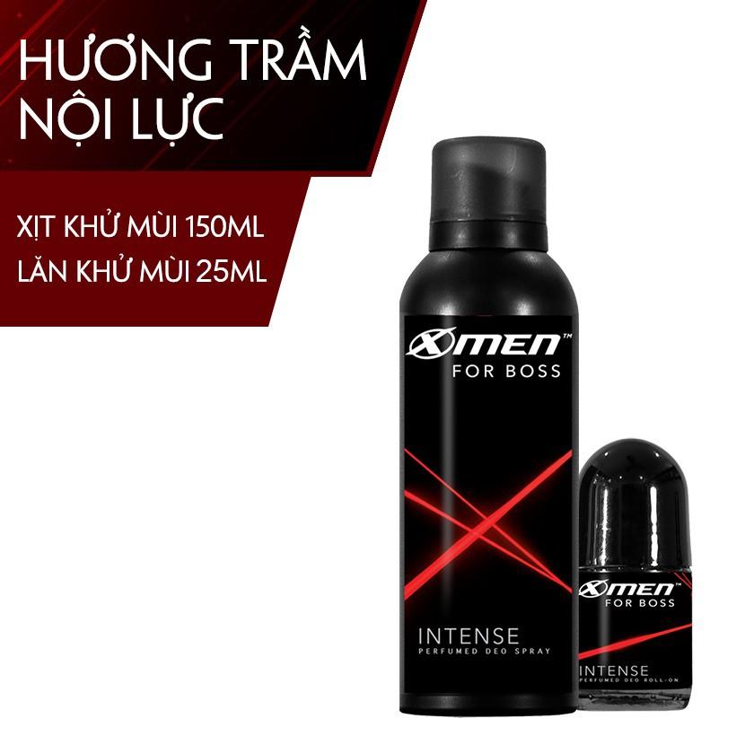 Combo Xịt khử mùi X-Men for Boss Intense 150ml + Lăn khử mùi X-Men For Boss 25ml