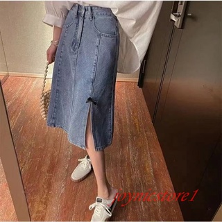 Chân Váy Denim Lưng Cao Dáng Chữ A Thiết Kế Mới Thời Trang Theo Phong Cách Hàn Quốc Cho Nữ
