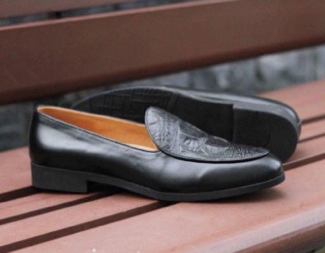 Giày Lười Dập Gân Cá Sấu