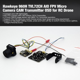 Hawkeye 960H TVL72CH AIO FPV Micro Camera CAM Transmitter OSD for RC Drone