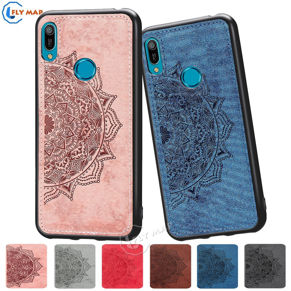 Fabric Canvas Silicon Phone Huawei Y6 Prime 2019 MRD L21 LX1 MRD-L21 MRD-L21A MRD-LX1 Cloth Texture Protective Covers