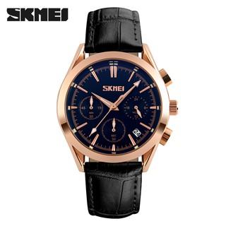 Đồng hồ nam SKMEI dây da cao cấp mặt tròn 40mm chạy 6 kim dạ quang có lịch ngày chống xước chống nước tuyệt đối 9127