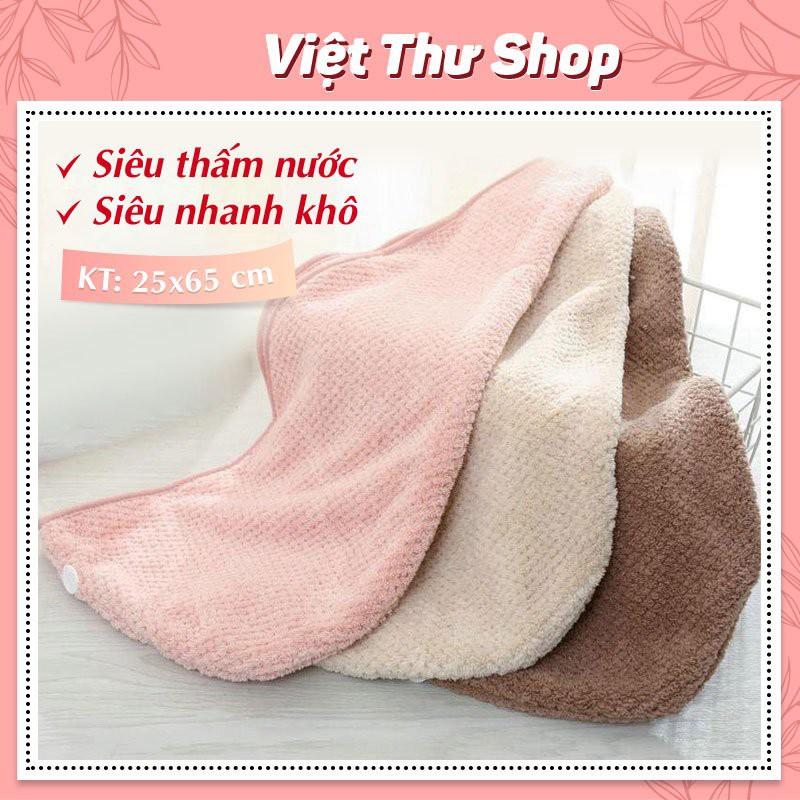 Khăn Quấn, khăn ủ Tóc Cao cấp Thấm Hút Tốt Siêu Nhanh Khô Mềm Mại Việt Thư