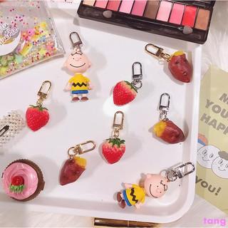 Ins Korean wind simulation baked sweet potato keychain ins cute strawberry bag p