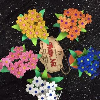 Combo 5 chậu hoa xốp bitit kim tuyến -đồ chơi mầm non tự làm