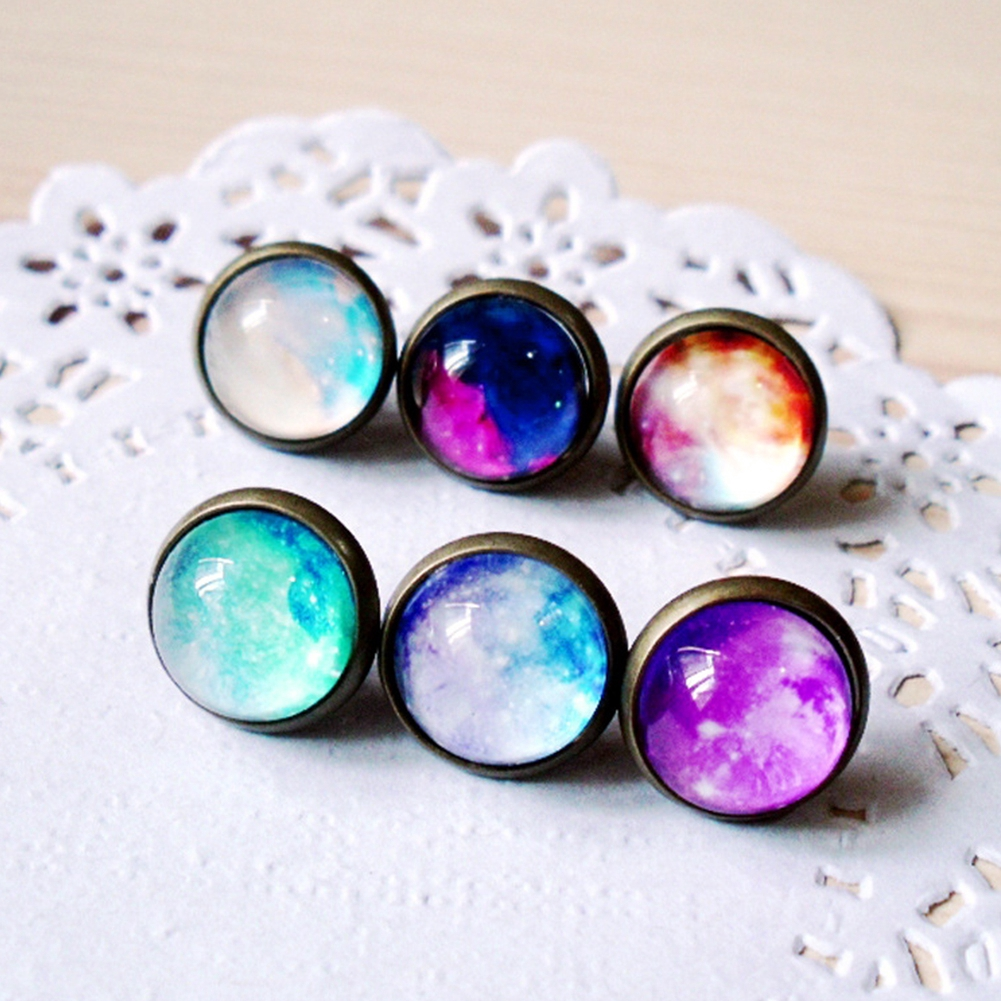 2PCS/ Pair Hot New Nebula Earring Space Star Magic Cabochons Glass Jewelry post Personality Earrings