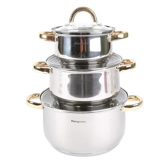 Bộ 3 Nồi Inox 5 Lớp Đáy Từ Kangaroo KG866 - Dùng được với bếp từ