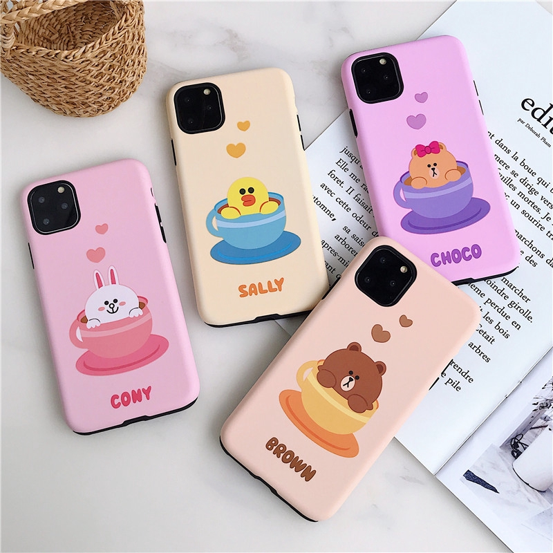 2 in 1 Shockproof iPhone Case Line Friends Cup Brown & Cony & Sally & Choco Pattern Cover for iPhone 11/11 pro/11 pro max /X XS MAX XR/SE2020 iPhone 6 7 8 Plus