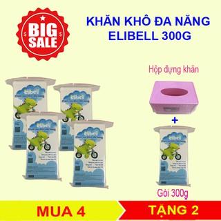 [SIÊU KHUYẾN MÃI] Combo 4 bịch khăn khô đa năng Elibell 300g – An toàn cho bé – Không chứa hóa chất
