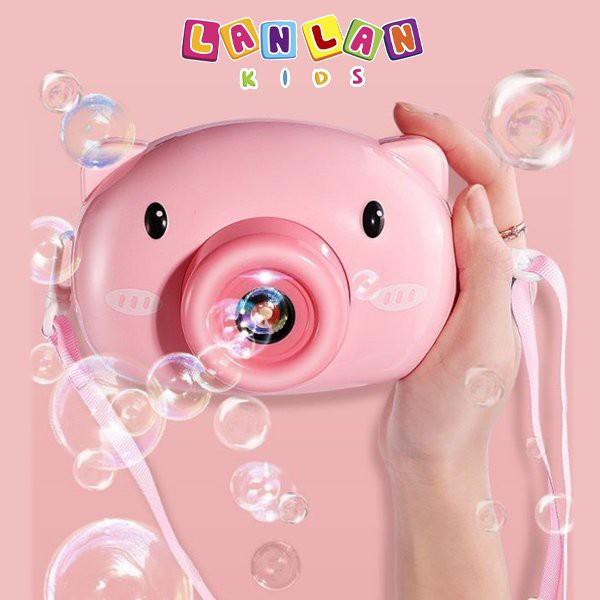 Máy chụp ảnh bắn bong bóng – Máy chụp hình chú heo dễ thương bắng bong bóng xà phòng dành cho các bé tặng kèm pin