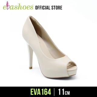 Giày Cao Gót Hở Mũi Đúp Đế Da Tổng Hợp 11cm Evashoes - Eva164(Màu Đen,Kem,Trắng)