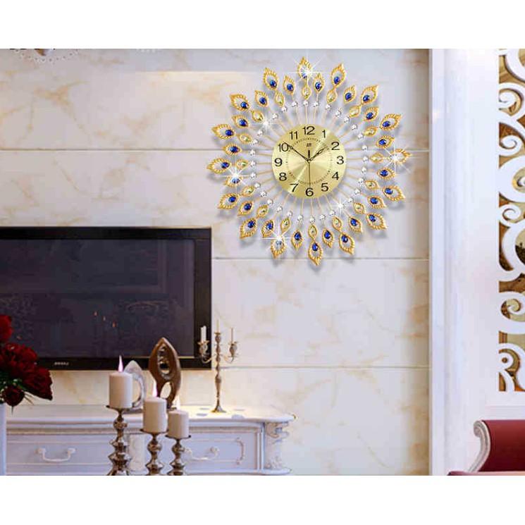 Đồng hồ treo tường mạ giả vàng đính đá cao cấp
