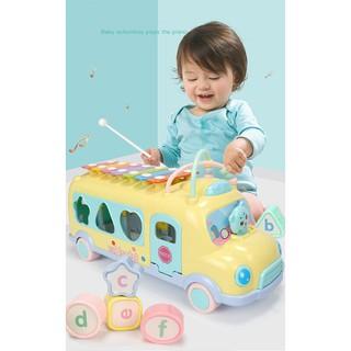 (MS0119) Đồ chơi xe ô tô bus thả hình khối kèm đàn cho bé
