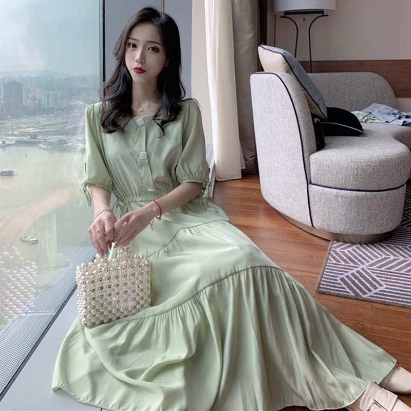 ◘Very fairy style French small retro skirt female high waist square collar bubble cuff drawstring strap dress