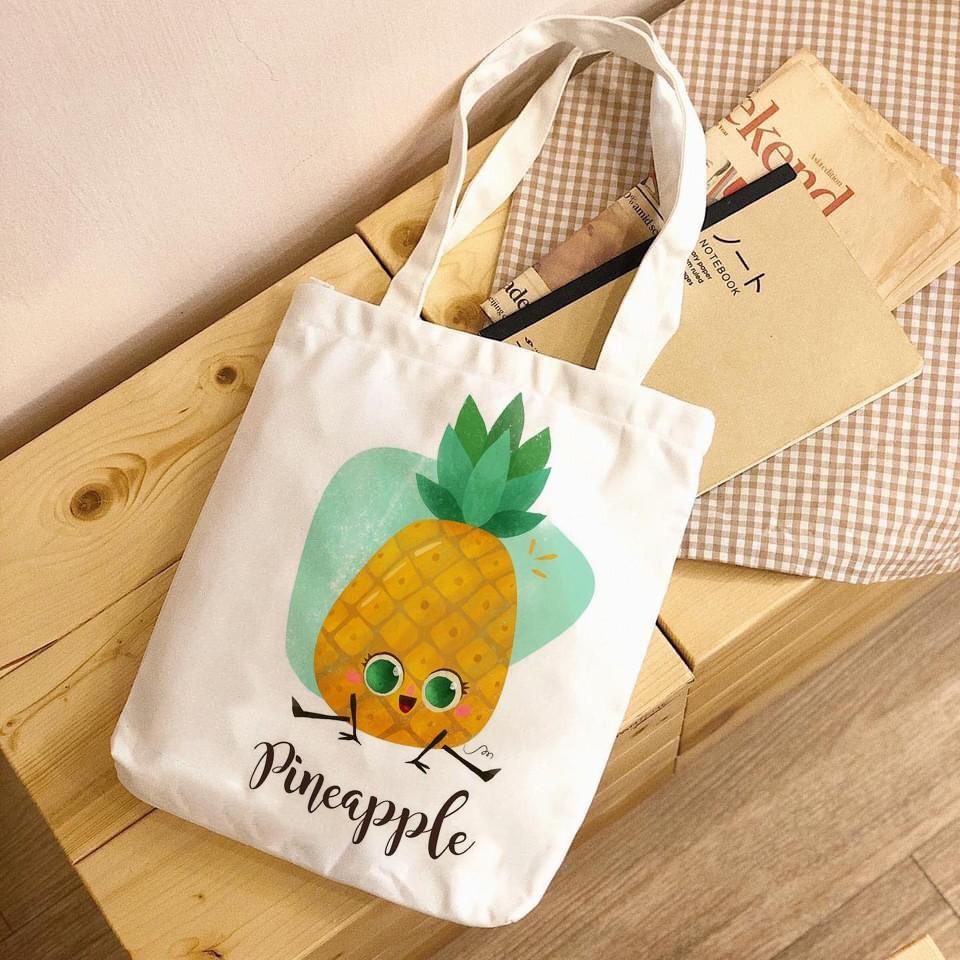 Túi Tote Vải Canvas đeo vai in hình hoa quả hottrend trái đào - trái cây Hàn Quốc Có Khóa Miệng Túi