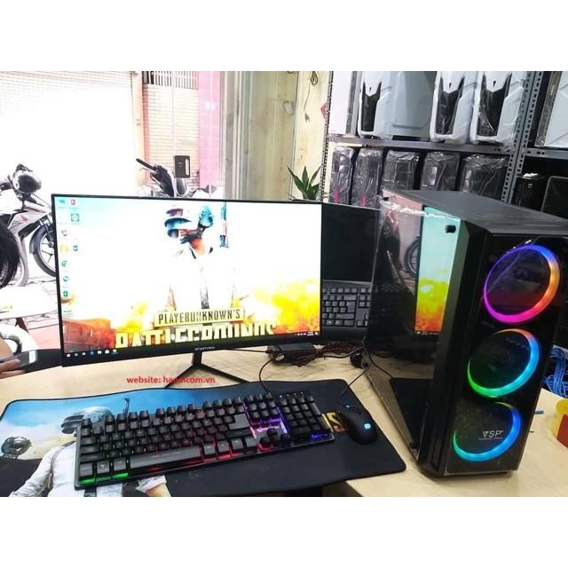 Bộ Case máy tính chơi game LOL Max setting. 3 Fan led, Vỏ kính cường lực trong suốt