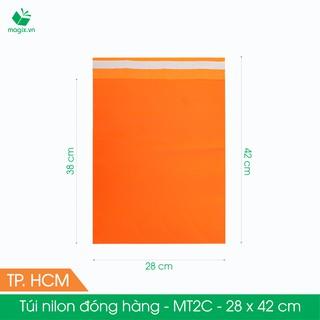 MT2C - 28x42 cm - Túi nilon gói hàng - 100 túi niêm phong đóng hàng màu cam thumbnail