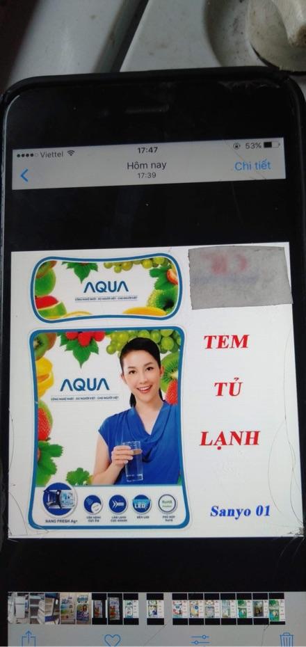 tem tủ lạnh sanyo aqua -cắt sẵn dán băng dính 2 mặt về chỉ việc dán vào tủ