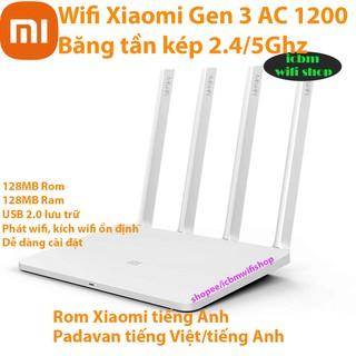 Bộ phát wifi Xiaomi Mi Gen 3, MIR3 AC1200 băng tần kép giao diện tiếng Việt Padavan, rom gốc, rom Openwrt, open port.