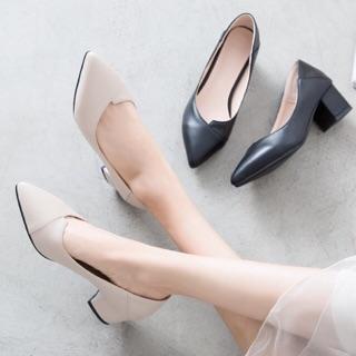Giày nữ cao gót phong cách công sở ( xếp mũi) màu Kem A21