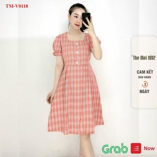 Đầm suông nữ The Mei 1992- Đầm công sở chất cotton mát kẻ caro cổ vuông đính cúc bo ống tay siêu xinh