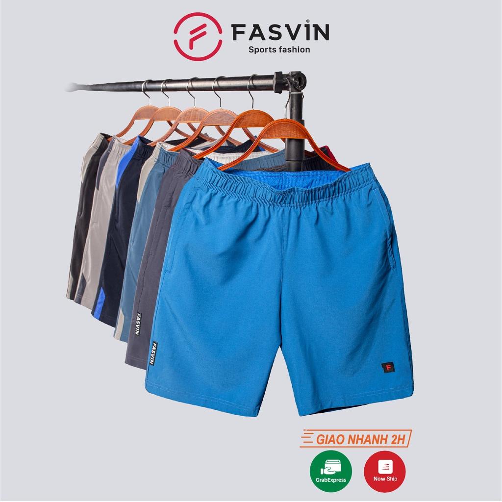Quần đùi nam FASVIN vải dù gió co giãn nhẹ mát có khóa túi tiện dụng thể thao hay mặc nhà QHN7