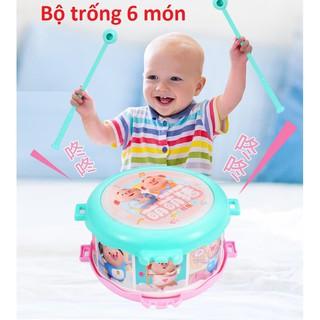 Bộ trống 6 món đồ chơi cho bé có lục lạc xúc xắc kích thích não phát triển trí thông minh